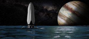 Künstlerische Impression eines ITS-Raumschiffs auf einem Mond des Jupiter