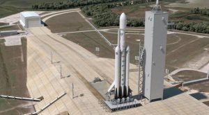 Künstlerische Darstellung der Falcon Heavy auf dem Startplatz